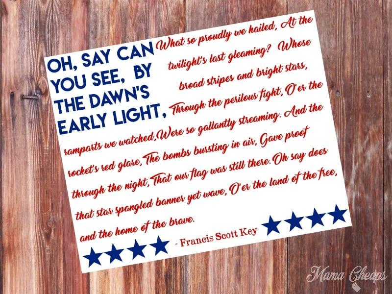 National Anthem Star Spangled Banner Free Printable Decoration