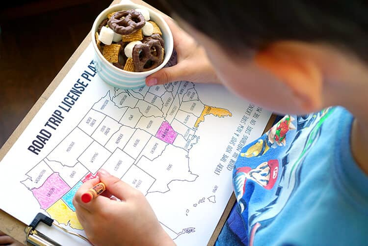 Road-Trip-Snack-Mix-and-State-License-Plate-Coloring-Map-Game