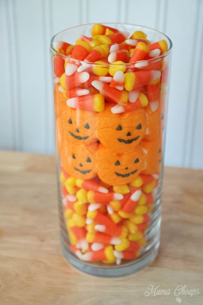 Candy Corn Pumpkin Peeps Centerpiece