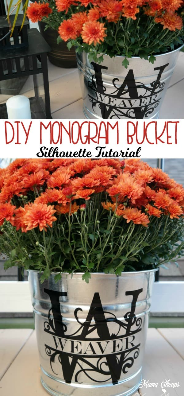 DIY Monogram Bucket Silhouette Tutorial
