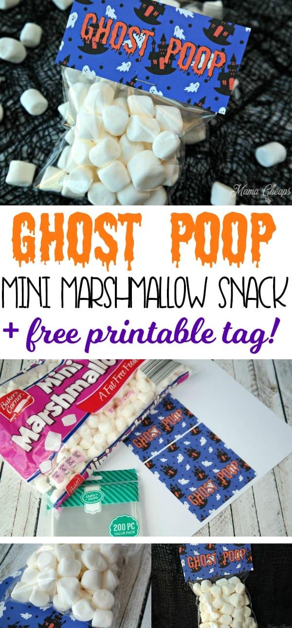 Ghost Poop Mini Marshmallow Snack Idea