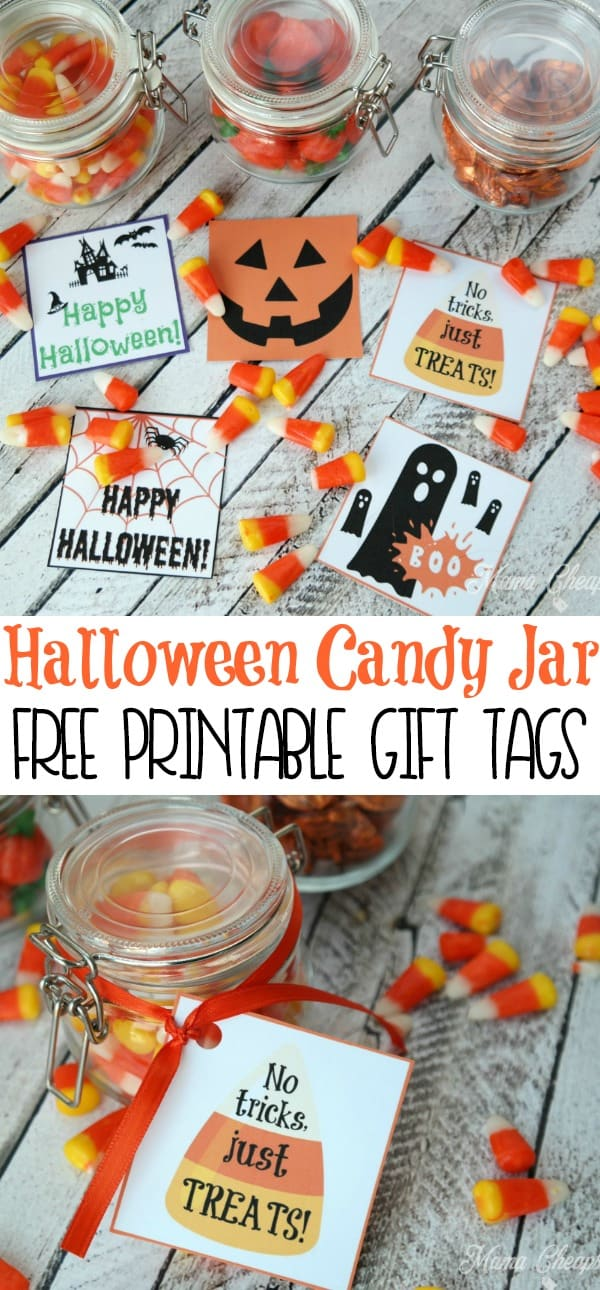 Halloween Candy Jar Free Printable Gift Tags