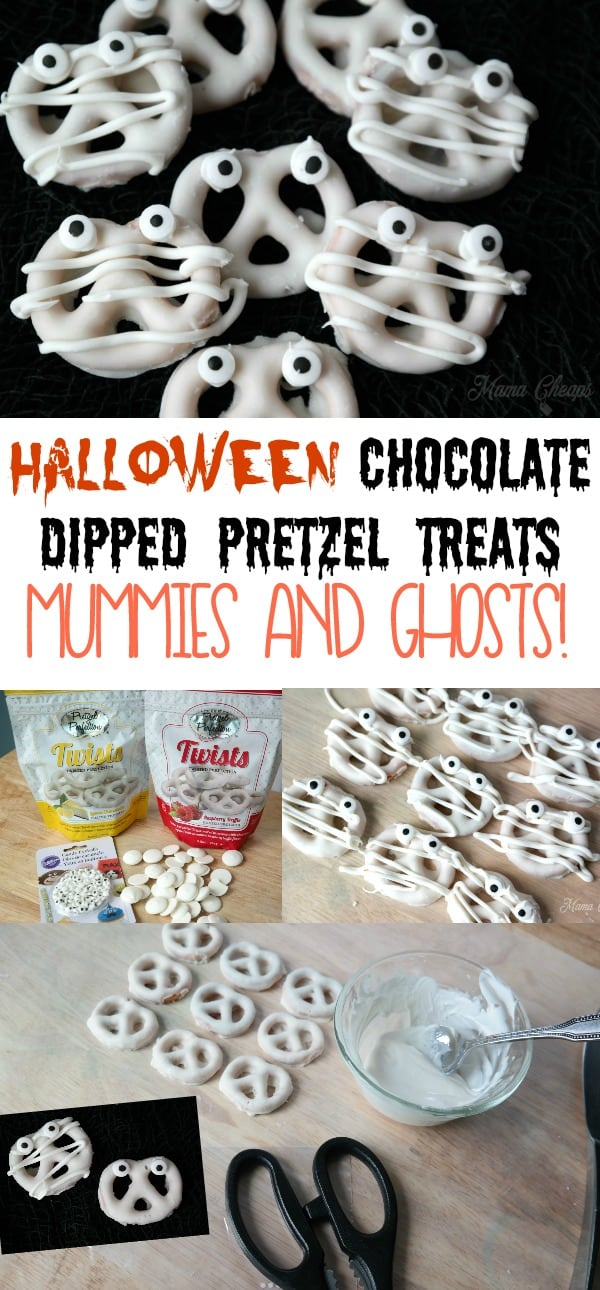 Halloween Chocolate Dipped Pretzel Treats Mummies and Ghosts