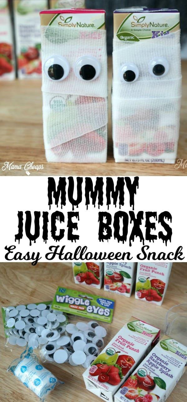 Mummy Juice Boxes Easy Halloween Snack
