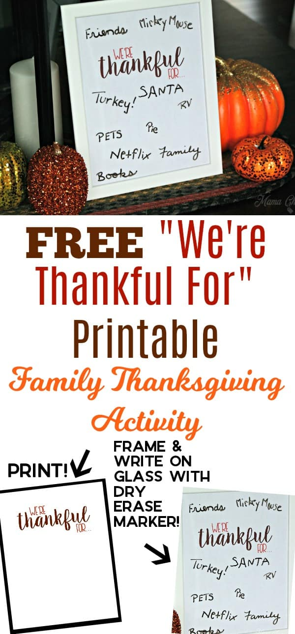 Free We're Thankful for Printable Family Thanksgiving Activity