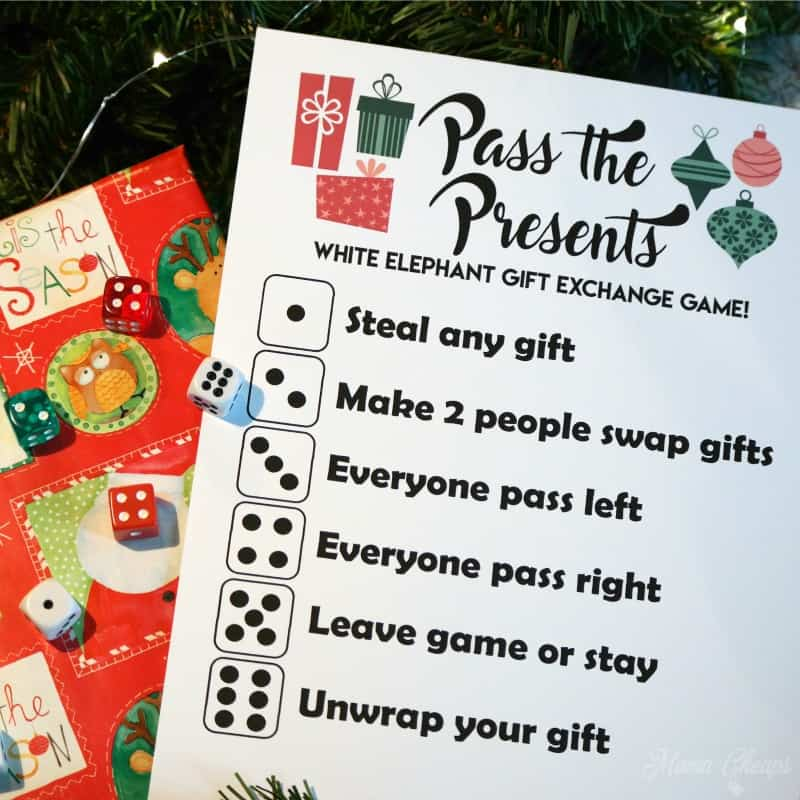 Pass the presents white elephant gift exchange game free for Mens gift exchange idea