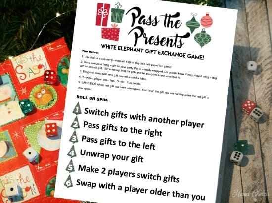 Christmas Gift Exchange Dice Game Printable.Pass The Presents White Elephant Gift Exchange Game Free
