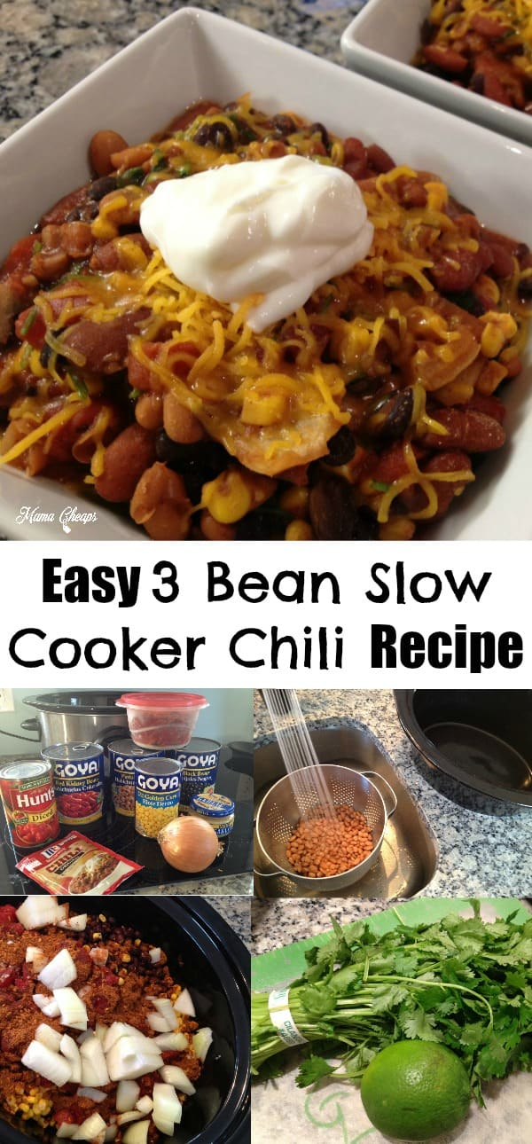 Easy 3 Bean Slow Cooker Chili Recipe