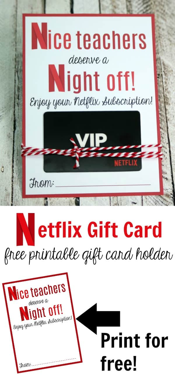 Free Netflix Printable Gift Card Holder