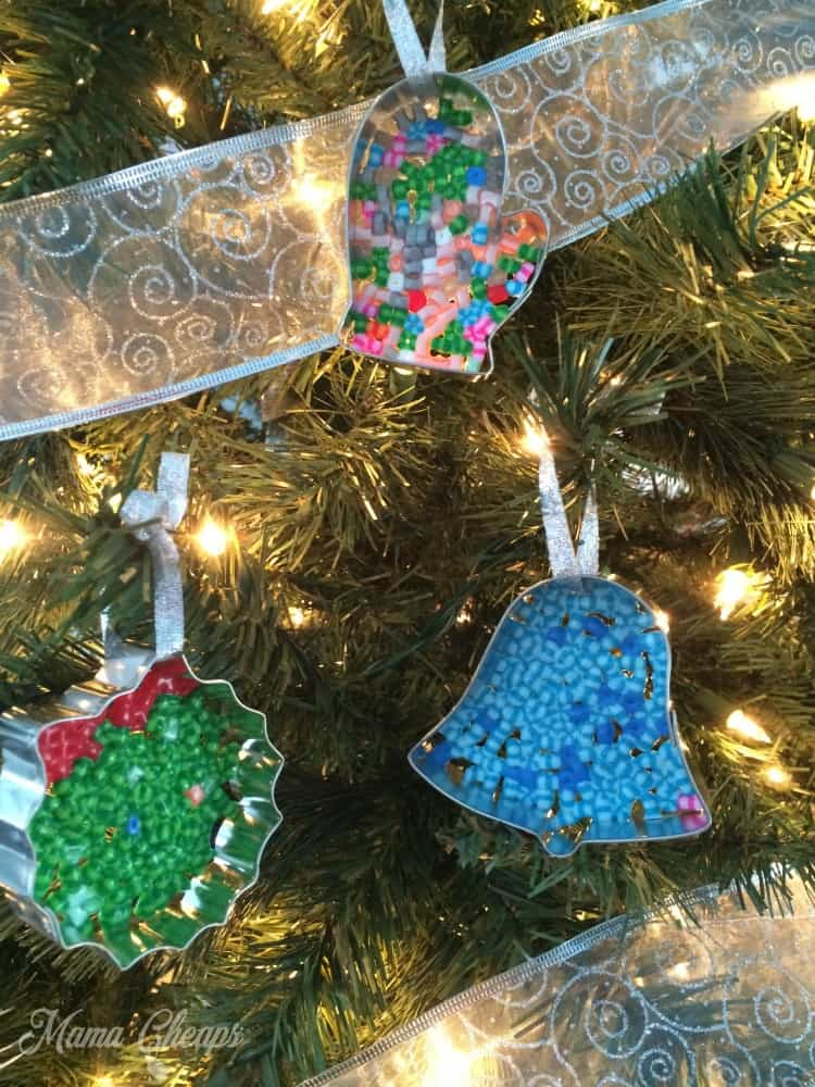 Perler Bead Ornaments on Tree
