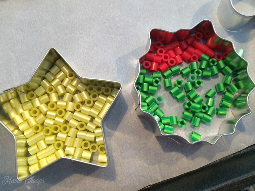 Perler Beads inside Cookie Cutter