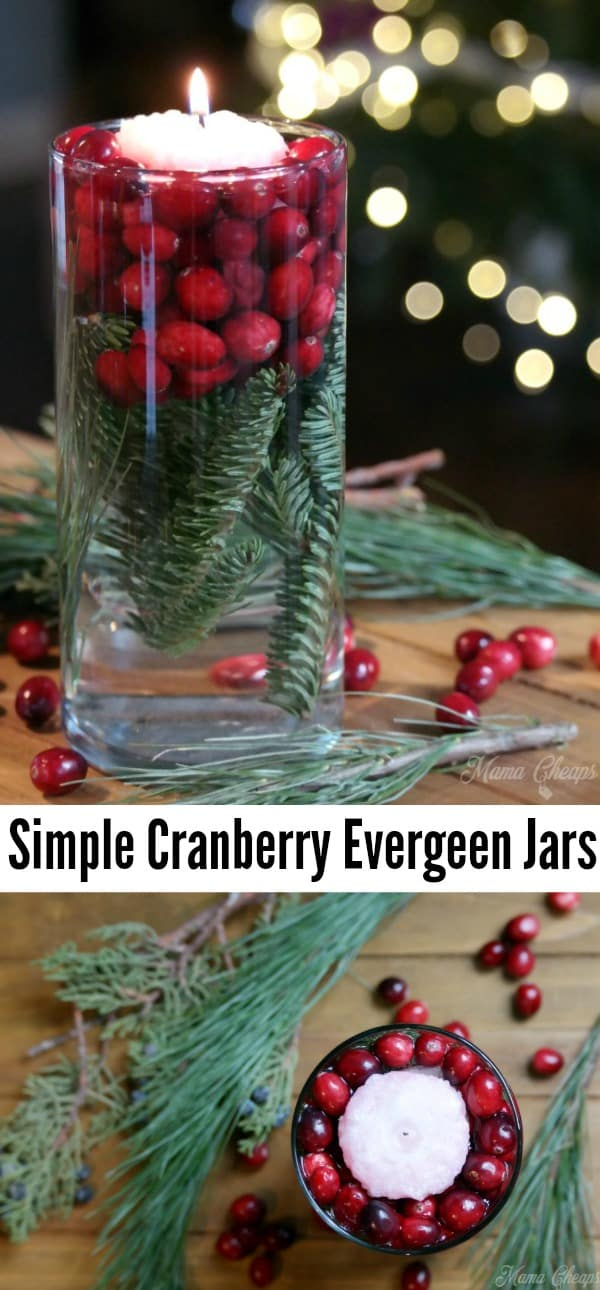 Simple Cranberry Evergeen Jars Holiday Decor DIY