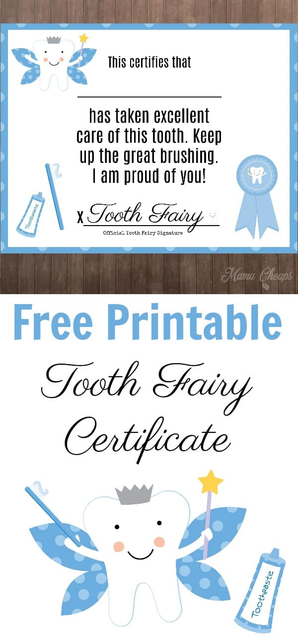 Free Printable Tooth Fairy Certificates