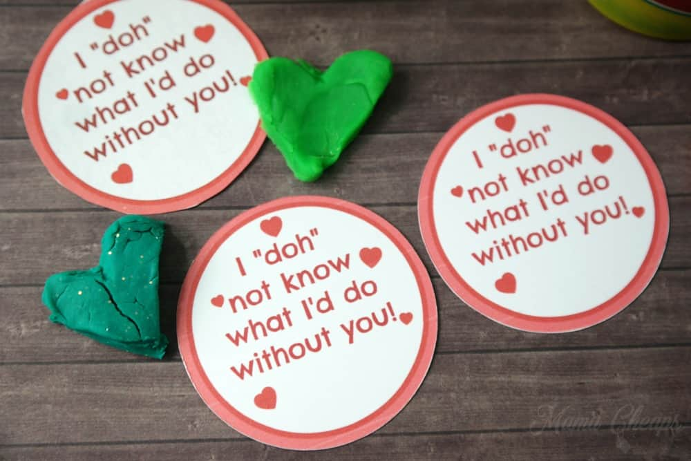 photo relating to Play Dough Valentine Printable named Basic Participate in Doh Valentines with Printable Jar Labels Mama Cheaps