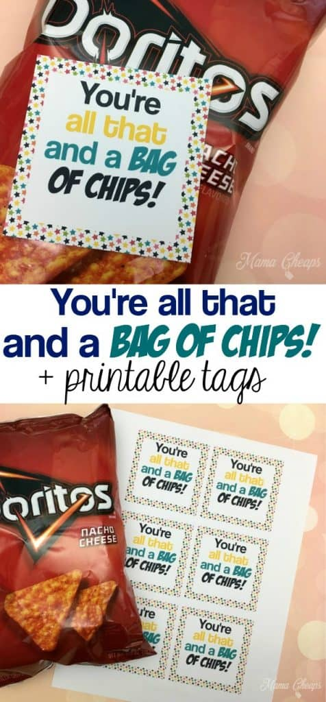graphic regarding You're All That and a Bag of Chips Free Printable known as Youre All That and a BAG OF CHIPS Valentine + Printable