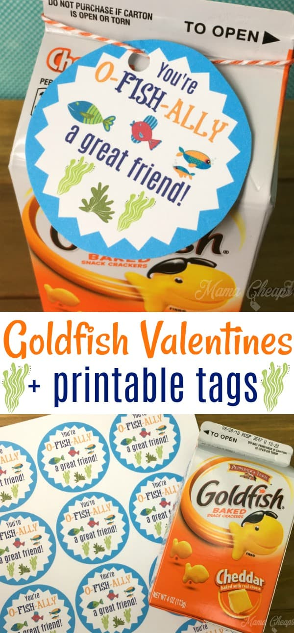 picture relating to Goldfish Valentine Printable named Very simple Goldfish Valentines + Printable Playing cards Mama Cheaps