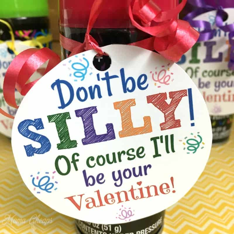 Silly String Valentine Tags