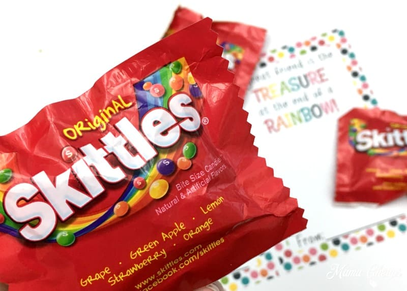 For this Valentines idea, we used the super small fun-sized bags of Skittles (ie the size you would hand out to trick or treaters).