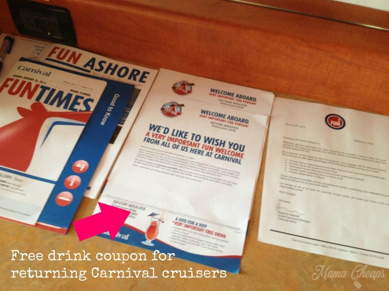 Carnival Cruise Free Drink Coupon