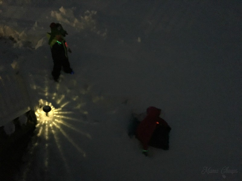 Kids in Snow at Night