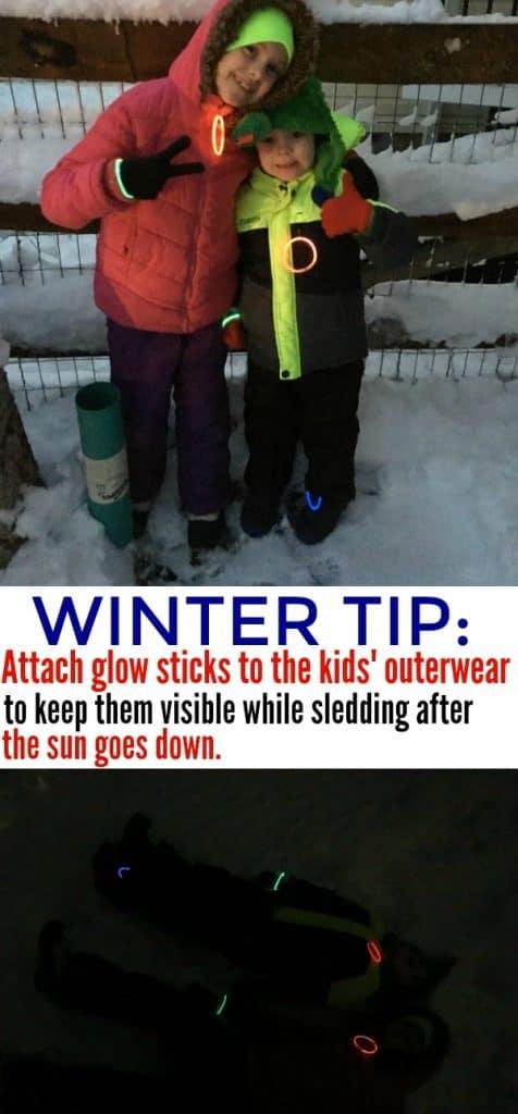 Winter Tip Glow Sticks Sledding