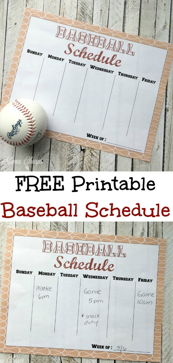 Printable Baseball Schedule Print
