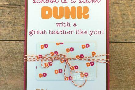 dunkin donuts teacher gift printable