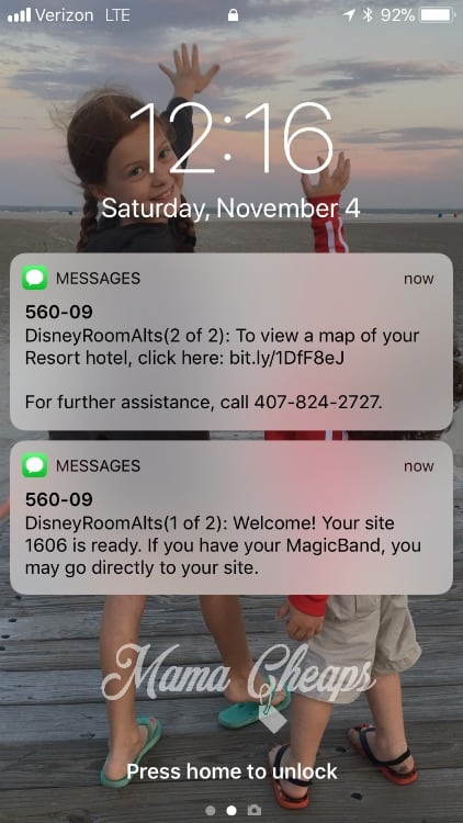 Fort Wilderness Text Alert