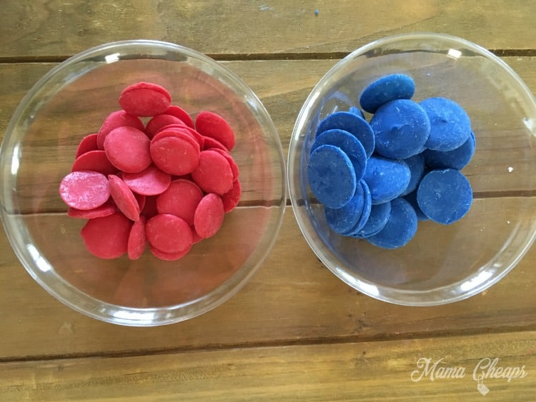 red blue melting chocolate