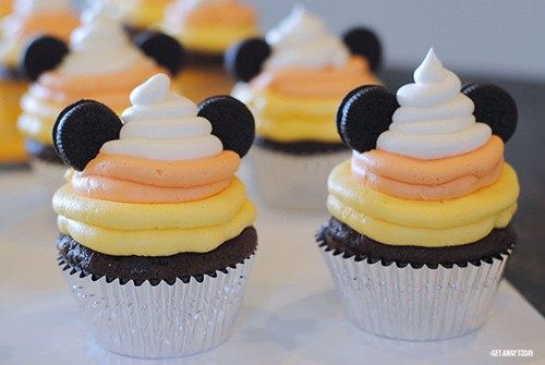 Mickey Mouse Candy Corn Cupcakes
