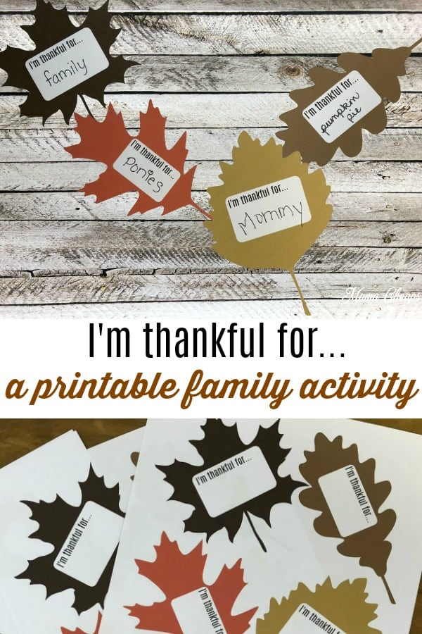 I'm thankful for printable activity