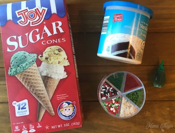Sugar Cone Christmas Tree Ingredients