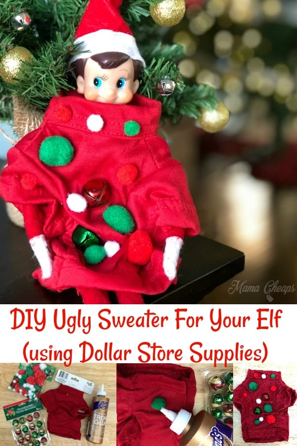 DIY Ugly Sweater For Your Elf (Dollar Store Supplies)