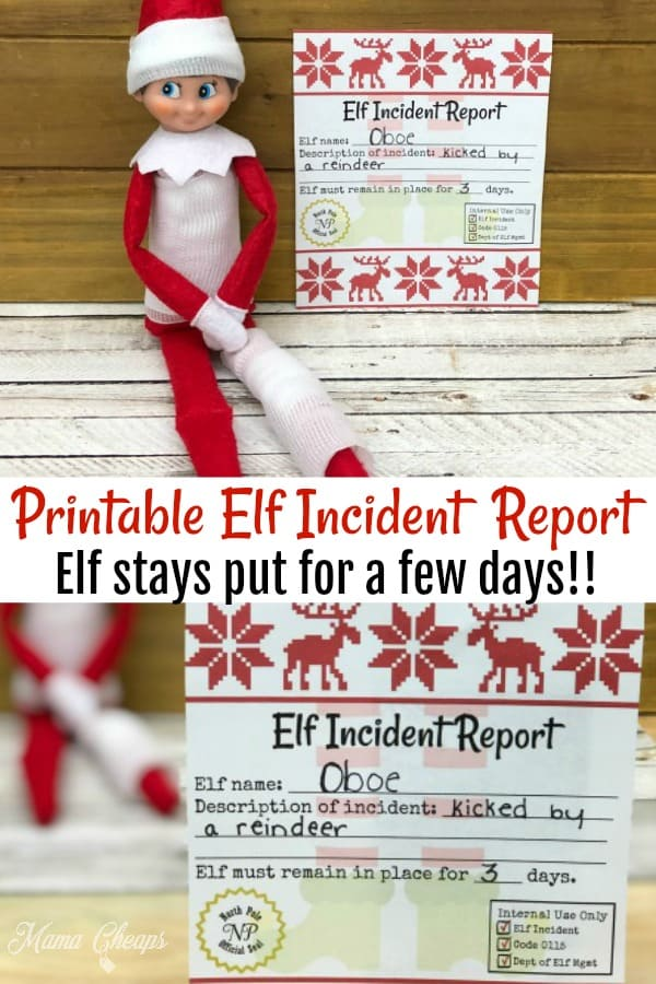 Printable Elf Incident Report