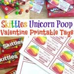 Skittles Unicorn Poop Valentine Printable Tags