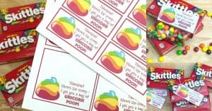 Unicorn Poop Skittles Valentines Printables