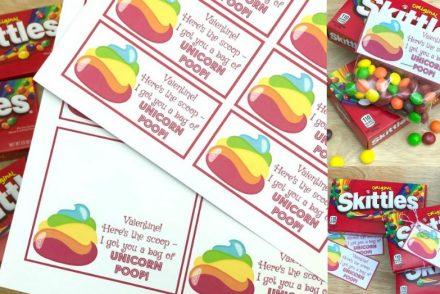 Unicorn Poop Skittles Valentines Printables Feature
