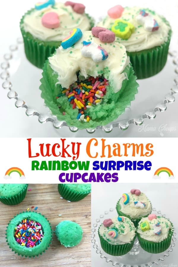 Lucky Charms Rainbow Surprise Cupcakes