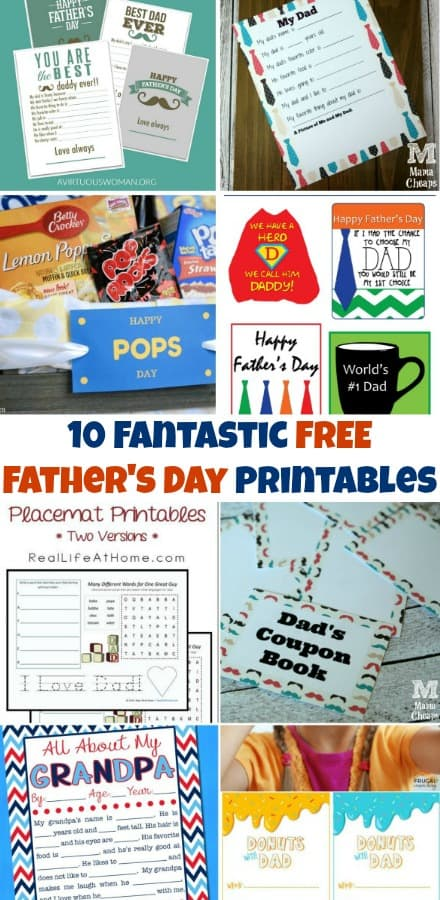 10 Fantastic FREE Father's Day Printables