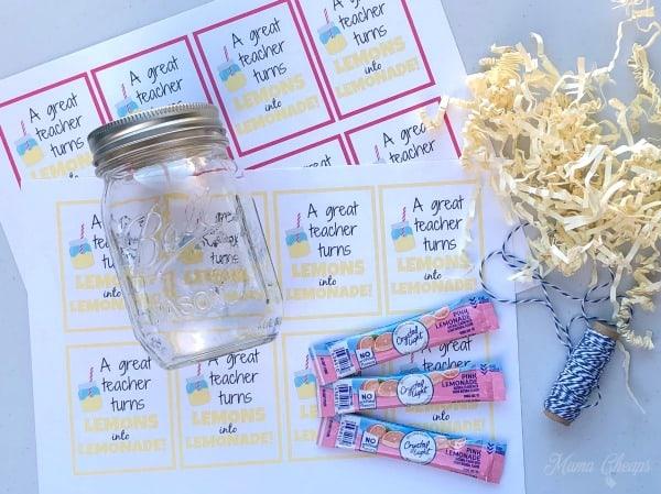 Lemonade Teacher Gift Supplies