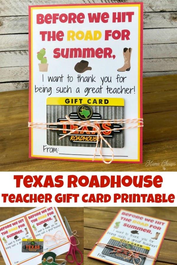 Texas Roadhouse Teacher Gift Printable