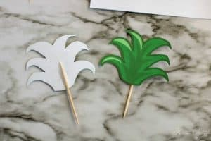 Pineapple toppers on toothpicks