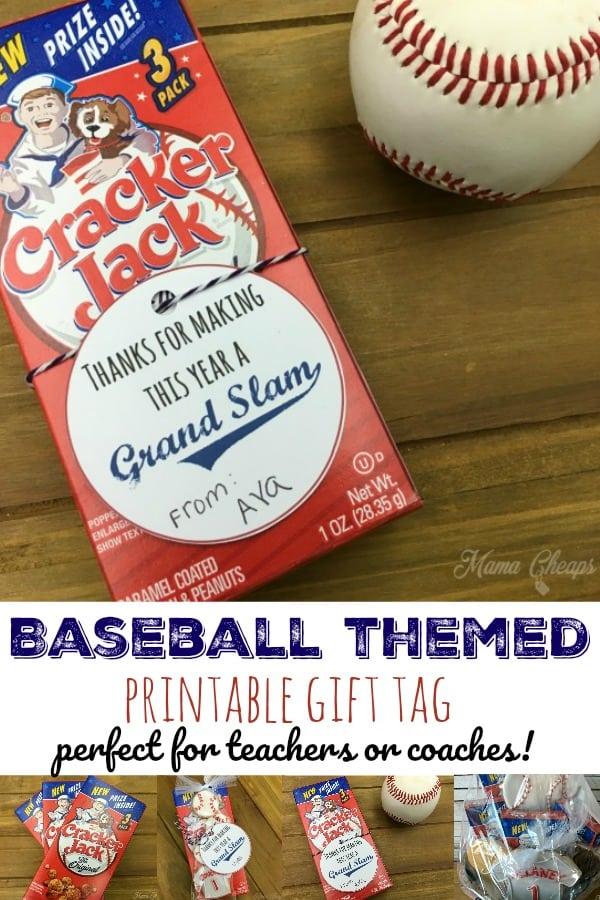 baseball themed printable gift tag