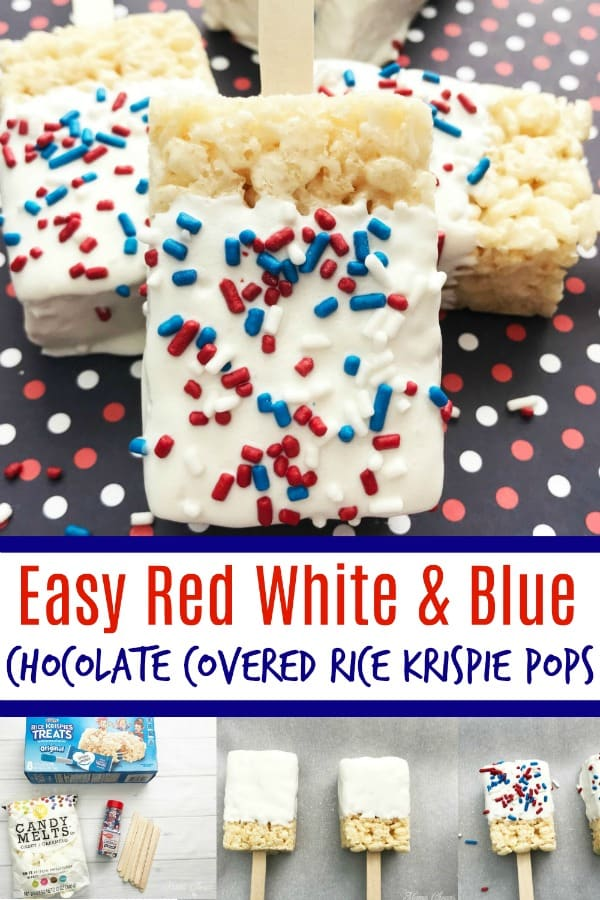 red white blue chocolate covered rice krispie pops