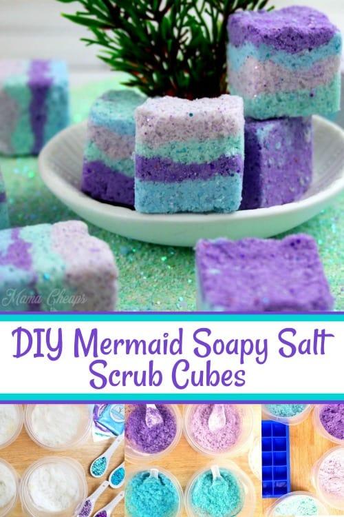 DIY Mermaid Soapy Salt Scrub Cubes