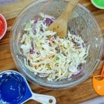 Mixing Homemade Cole Slaw Glass Bowl