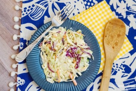 Plated Homemade Cole Slaw Recipe for Dinner