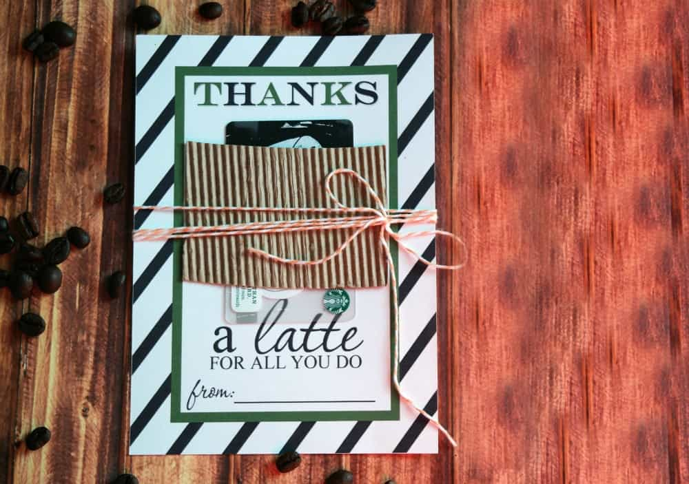 Thanks a Latte Gift Card Holder Free Printable Feature