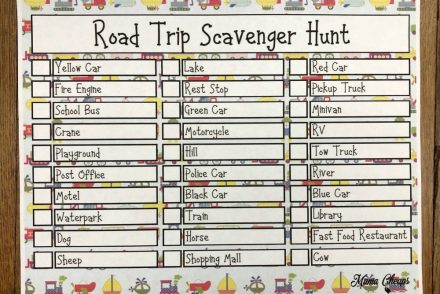 Road Trip Scavenger Hunt Free Printable Activity
