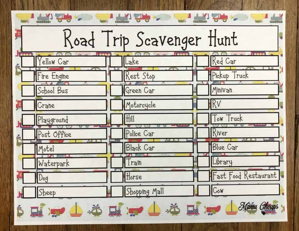 photo regarding Road Trip Scavenger Hunt Printable known as Highway Vacation Scavenger Hunt Absolutely free Printable Recreation Mama Cheaps